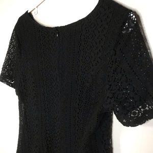 LUSH Black Cotton Lace Shift Dress